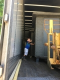 Loading blinds with our grandson